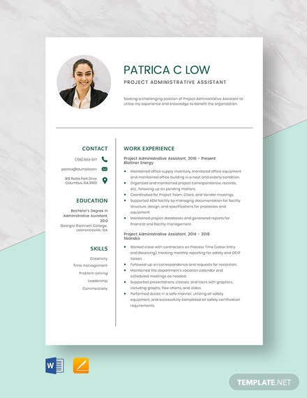 Free Project Administrative Assistant Resume Template