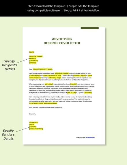 Advertising Designer Cover Letter Template