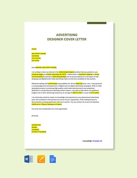 Advertising Designer Cover Letter