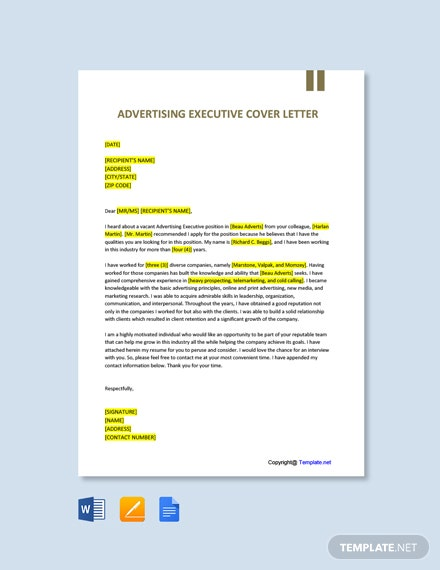 Free Advertising Executive Cover Letter Template