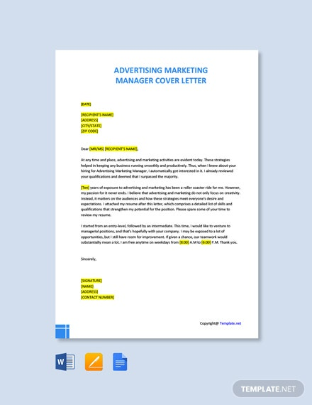 Free Advertising Marketing Manager Cover Letter Template