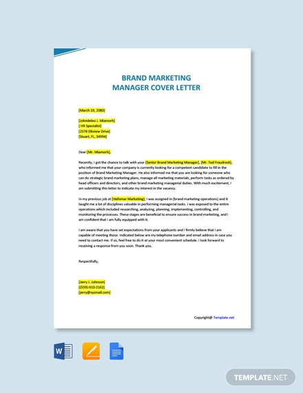 Free Brand Marketing Manager Cover Letter Template