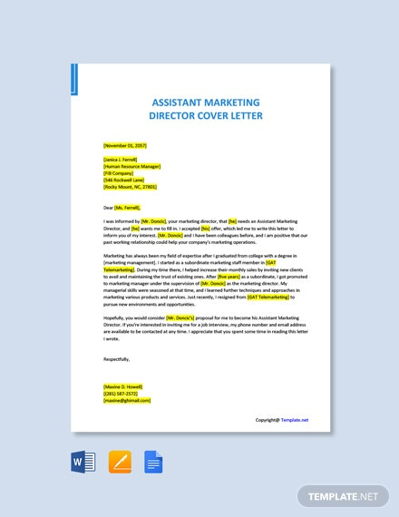 Assistant Marketing Director Cover Letter Template