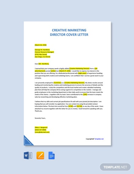 Free Creative Marketing Director Cover Letter Template