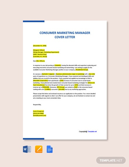 Free Consumer Marketing Manager Cover Letter Template