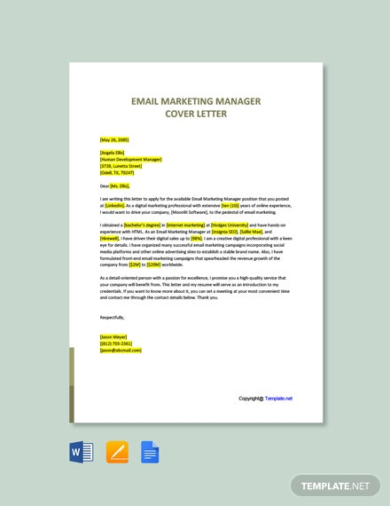 Free Email Marketing Manager Cover Letter Template