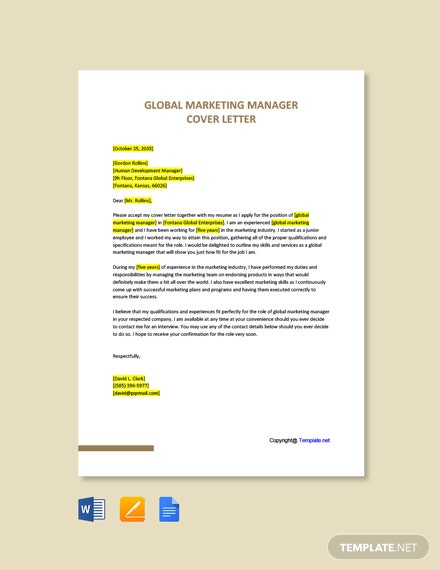 Free Global Marketing Manager Cover Letter Template