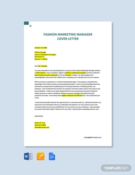 Free Fashion Marketing Manager Cover Letter Template