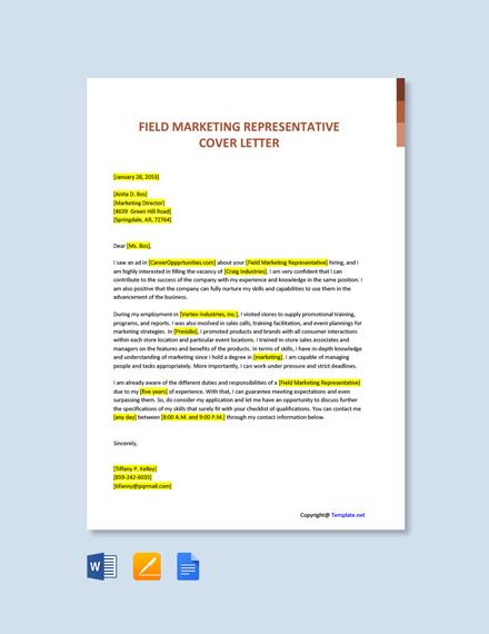 Free Field Marketing Representative Cover Letter Template