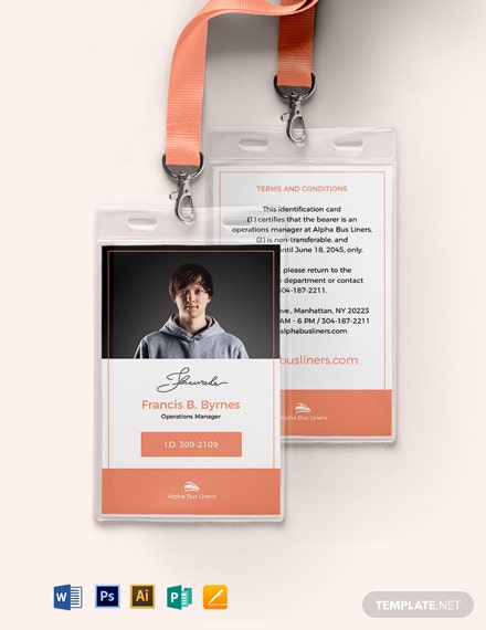 Transport ID Card Template