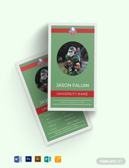 Football Trading Card Template