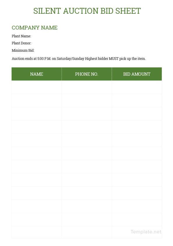 silent auction bid sheets templates