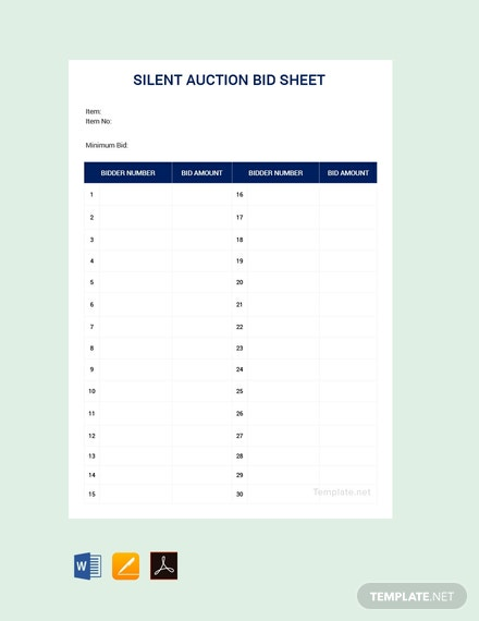 photograph regarding Printable Silent Auction Bid Sheets named Totally free Quiet Auction Bid Sheet Template - PDF Term Excel