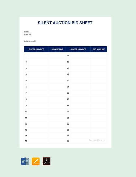 Free Silent Auction Bid Sheet Template