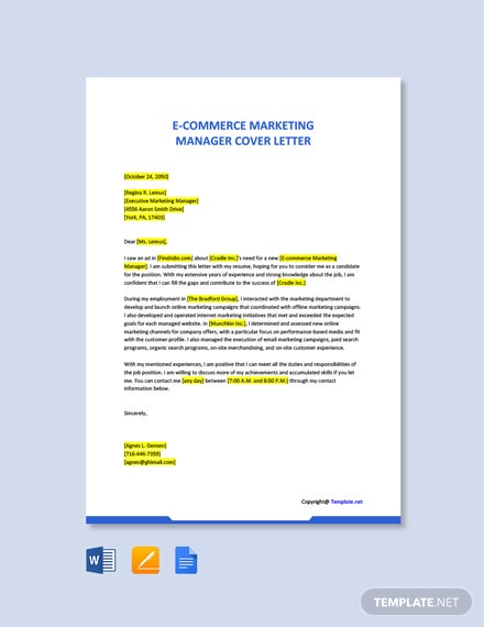 Free Ecommerce Marketing Manager Cover Letter Template