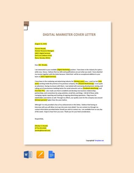 Digital Marketing Cover Letter Template