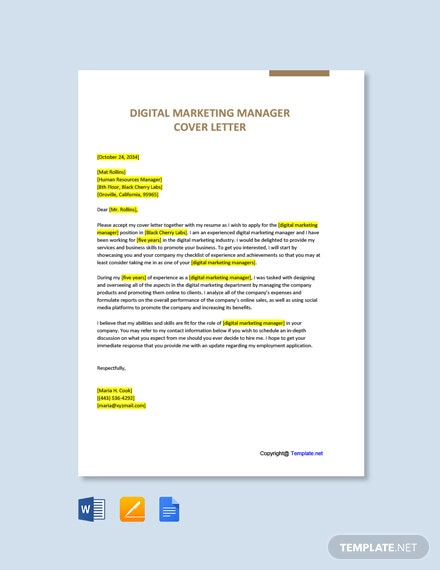 Free Digital Marketing Manager Cover Letter Template
