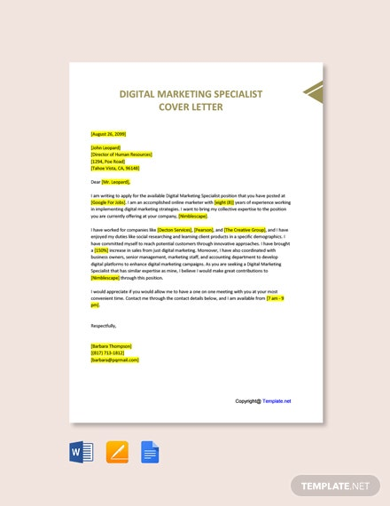 Digital Marketing Specialist Cover Letter Template