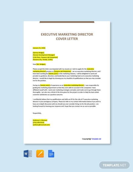 Free Executive Marketing Director Cover Letter Template