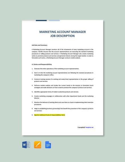 Free Marketing Account Manager Job Description Template