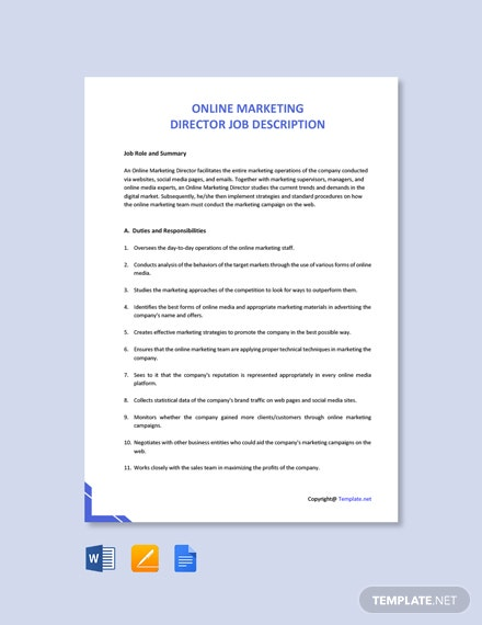 Free Online Marketing Director Job Description Template