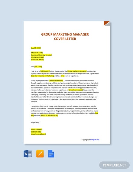 Free Group Marketing Manager Cover Letter Template