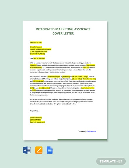 Integrated Marketing Associate Cover Letter Template