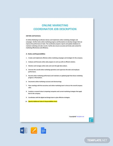 Free Online Marketing Coordinator Job Description Template