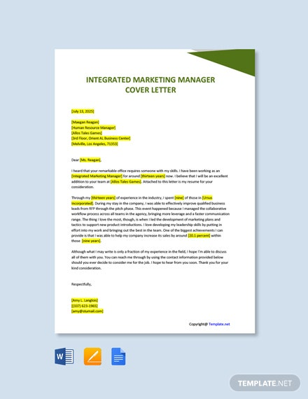 Free Integrated Marketing Manager Cover Letter Template