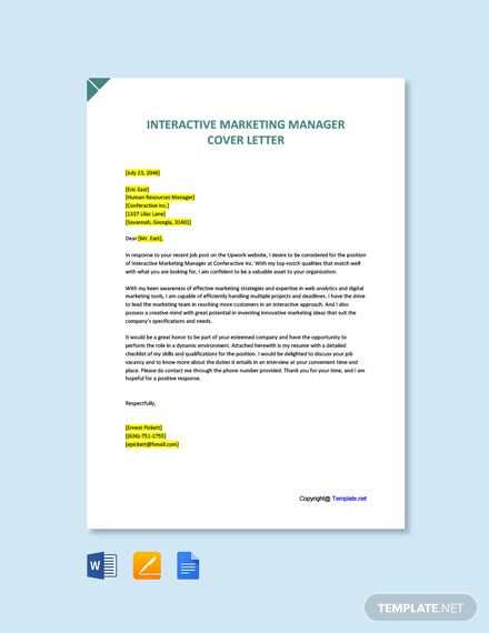 Free Interactive Marketing Manager Cover Letter Template