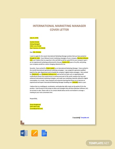 Free International Marketing Manager Cover Letter Template