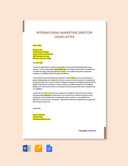 International Marketing Director Cover Letter Template
