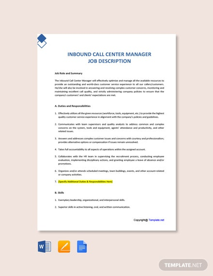 Free Inbound Call Center Manager Job Description Template