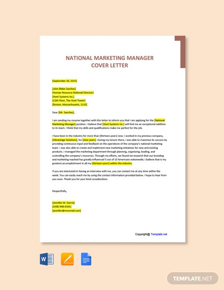 Free National Marketing Manager Cover Letter Template