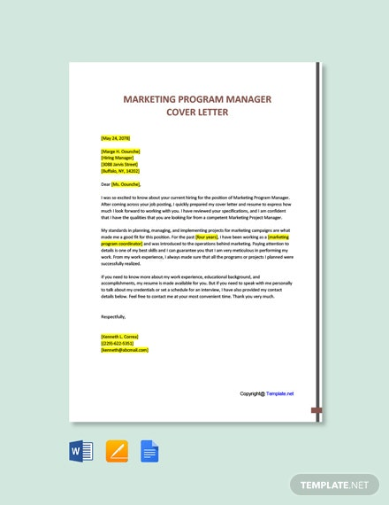 Free Marketing Program Manager Cover Letter Template