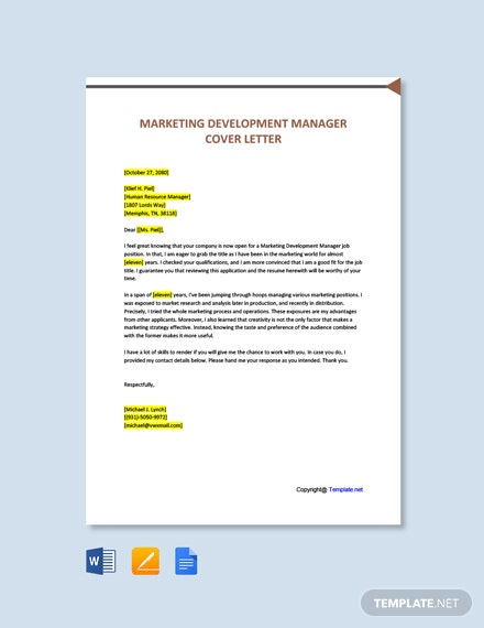 Free Marketing Development Manager Cover Letter Template