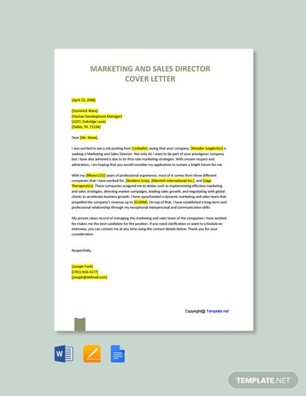 Marketing and Sales Director Cover Letter Template