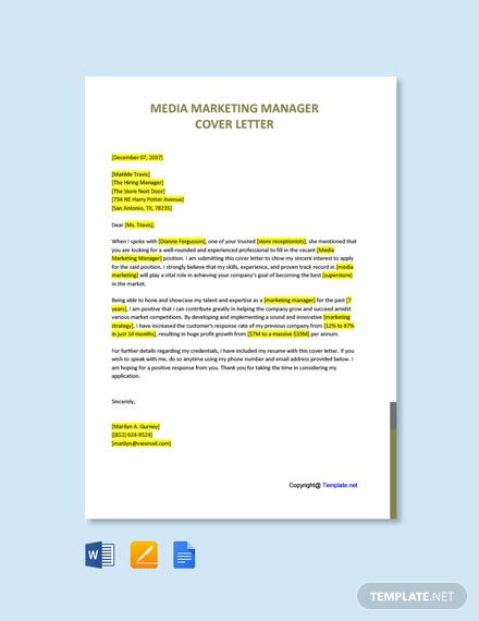 Free Media Marketing Manager Cover Letter Template