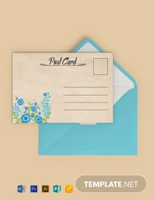 Free Simple Floral Postcard Template