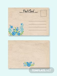 Simple Floral Postcard Template