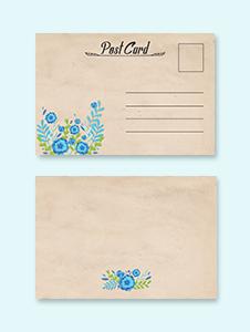 Simple Floral Postcard Template