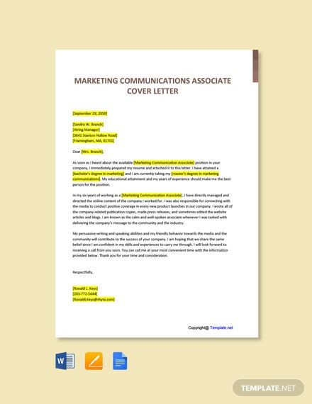Free Marketing Communications Associate Cover Letter Template