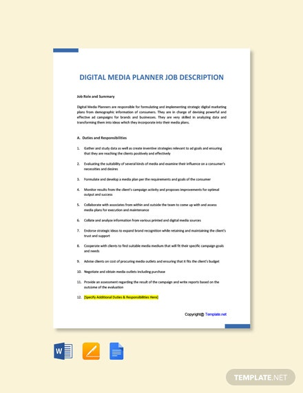 Free Digital Media Planner Job Description Template