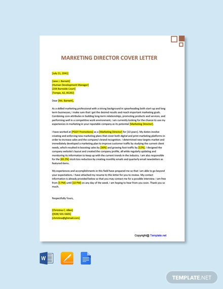Marketing Director Cover Letter Template