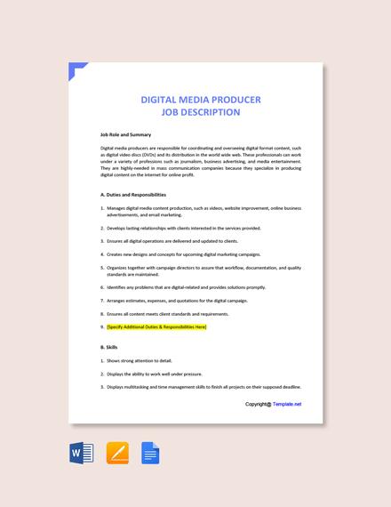Free Digital Media Producer Job Description Template