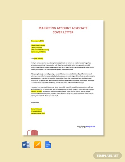Marketing Account Associate Cover Letter Template