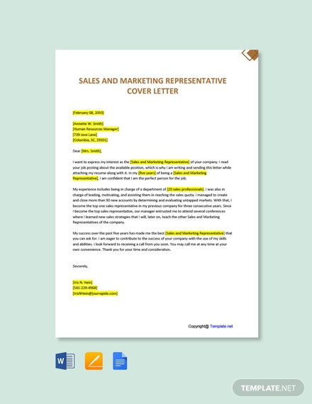 Free Sales And Marketing Representative Cover Letter Template