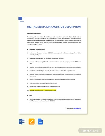 Free Digital Media Manager Job Description Template