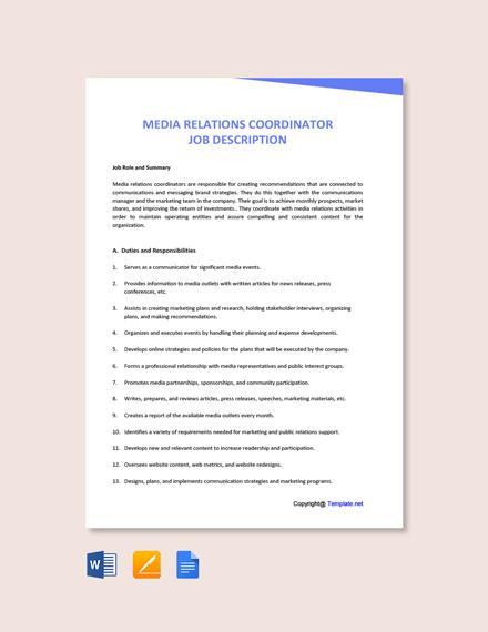 Free Media Relations Coordinator Job Description Template