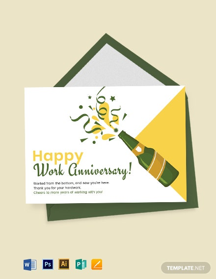 Happy Work Anniversary Card Template